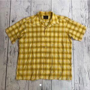 Vintage plaid 70's shirt button up XL yellow